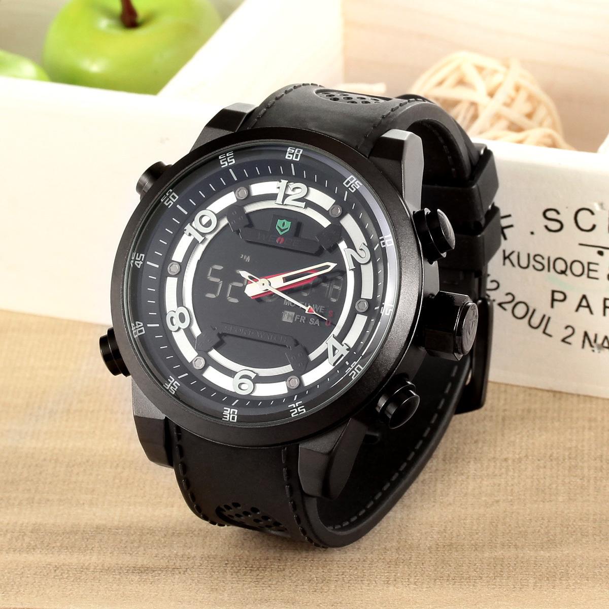 WEIDE WH3315 Men's Waterproof Outdoor Sport LCD Digital Analog Wristwatch w/ Alarm / Back Light - Black (1 x LR626) (Intl)