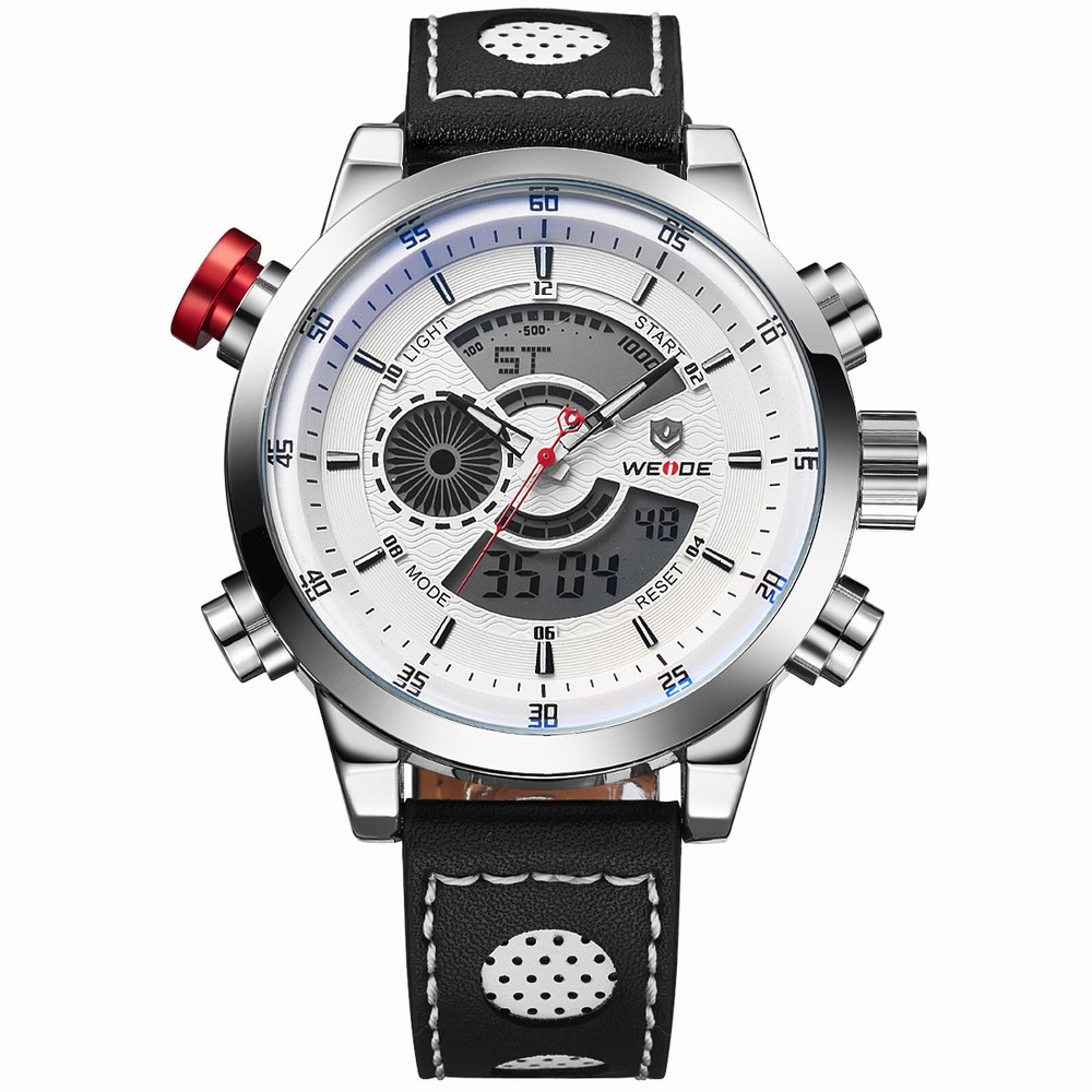 Weide WH3401 Multi Function Week 24h Date Men Sport Big Dial LEATHER Watch White+White product preview, discount at cheapest price