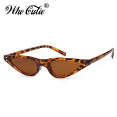 82023e1054 WHO CUTIE 2018 Small Triangle Cat Eye Sunglasses Sexy Women Leopard Cateye  Frame Skinny Narrow Retro