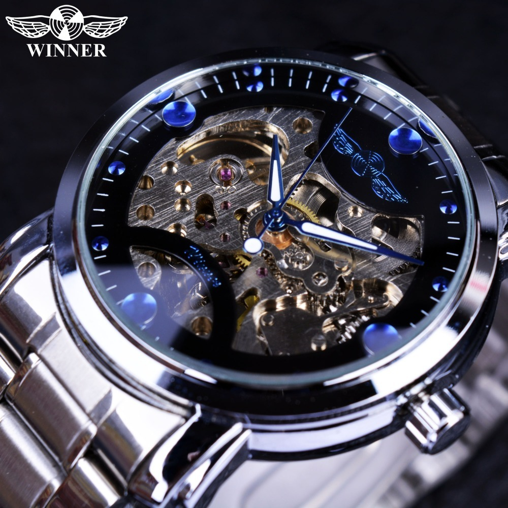Winner Blue Ocean Fashion Casual Designer Stainless Steel Men Skeleton Mens Luxury Automatic Watch - Intl product preview, discount at cheapest price