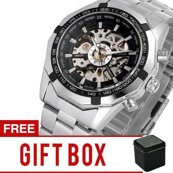 Winner Men's Hollow Engraving Automatic Skeleton Stainless Steel Watch