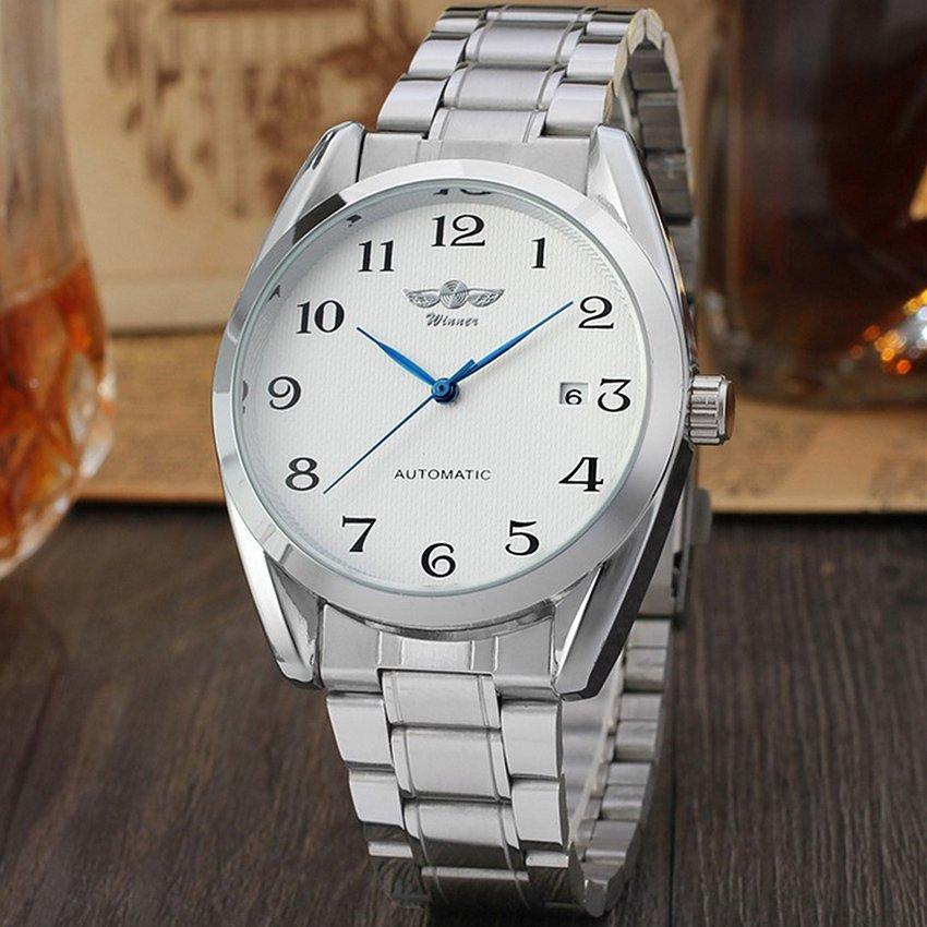 WINNER Men's Automatic Mechanical Date Sport Army Wrist Watch (White)