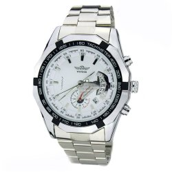 WINNER Mens Automatic Mechanical Date Stainless Steel Analog Sport Watch (White)