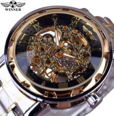 Winner WIN223 Classic Design Transparent Case Golden Movement Inside Skeleton Wrist Watch Men Watches Top Brand Luxury Mechanical Watch - intl