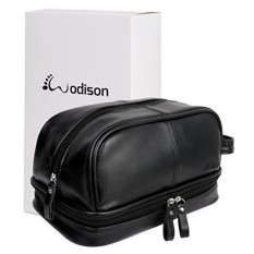 eb82081cb5eb WODISON Vintage PU Leather Mens Travel Toiletry Bag Shaving Dopp Kits  Organizer with Gift Box Black