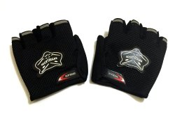 Wolf-Type Motor Protective Fingerless Gloves Black
