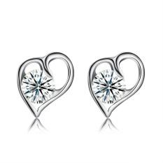 Women 1 Pair 925 Sterling Silver Zircon Stud Earrings - intl