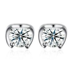 Women 1 Pair 925 Sterling Silver Zircon Studs Earrings - intl