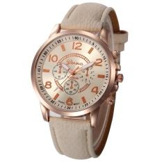 Women Casual Checkers Faux Leather Quartz Analog Wrist Watch BG - intl