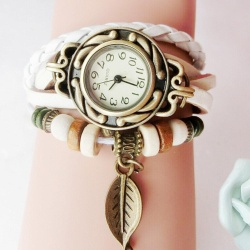 Women Children Retro LeatherWinding Bracelet Leaf Pendant Watch White - intl