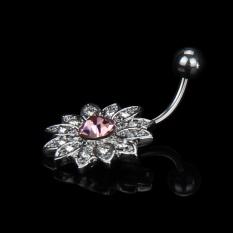 Women Crystal Rhinestone Flower Navel Belly Button Ring Bar Body Piercing A - intl