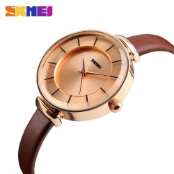 Women Fashion Casual Leather Strap Womens Quartz Watches LuxuryBrand SKMEI Waterproof Ladies Retro Dress Wristwatches(gold case-brown) - intl
