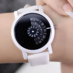 Women Men PU Leather Quartz Watch Wristwatch for Lovers Couple Valentine's Day Gifts - intl