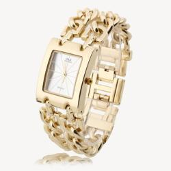 Women Wrist Watch Wristwatch Gold Alloy Link Bracelet Band Rectangle Dial