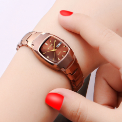 New Style Is Brand Tungsten Steel women watch watches women Square Fashion Fully Automatic Quartz Machinery watch watches Doubles Calendar