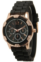 Women's Black Rose Gold Chronograph Silicone with Crystal Rhinestones Black