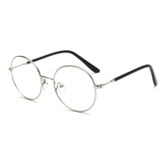 Women's Eyewear Fashion Vintage Retro Round Glasses Silver Frame Glasses Plain for Myopia Women Eyeglasses Optical