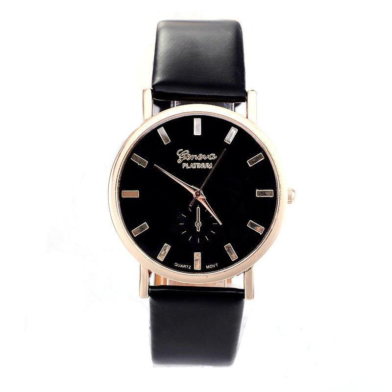Womens Lady Fashion Geneva Roman Leather Band Analog Quartz Wrist Watch Black
