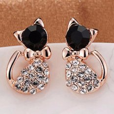 Women's Stud Earring Black Cat Crystal Rhinestone Ear Studs - intl