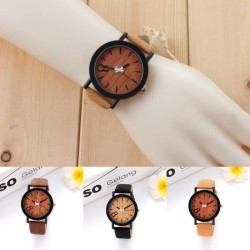 Wonderful Power 4 color Hot Sale Case Leather Strap Wrist Watch Eight Figure Wooden Color Fashion Watch Clock relogio feminino -Grey-Int:One size - intl