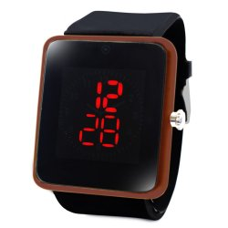 WOW Clock Square Touch LED Unisex Silicon Strap Watch (Black/Brown)