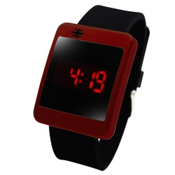 WOW Crux Square Touch LED Unisex Silicon Strap Watch (Red)