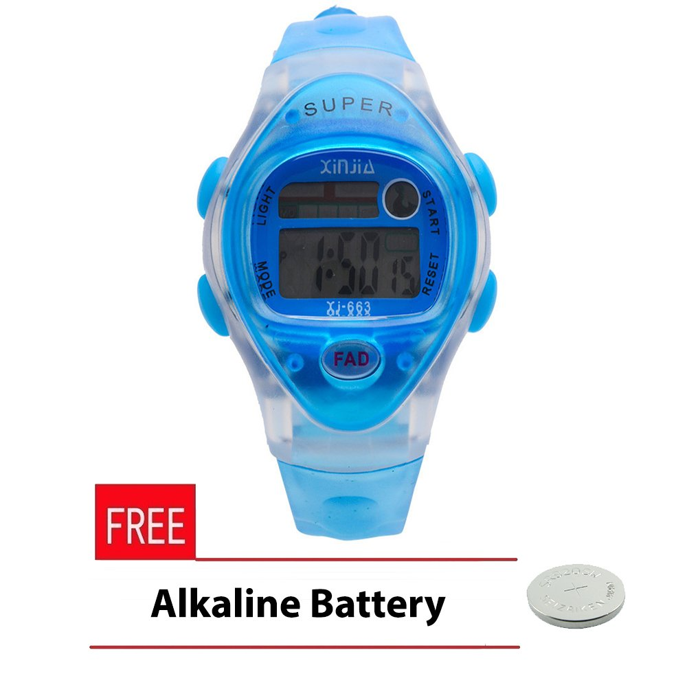 Xinjia Kid's LED Water Resistant Sports Watch Unisex Blue Plastic Strap XJ-663 with FREE Alkaline Battery