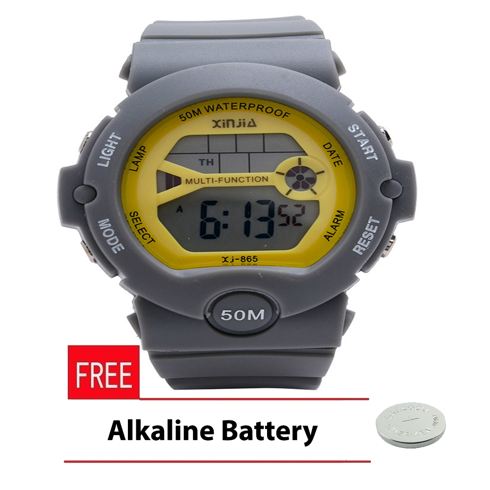 Xinjia Limited Edition Pastel Sport Watch Unisex Ash Resin Strap Watch XJ-865-White with FREE Alkaline Battery