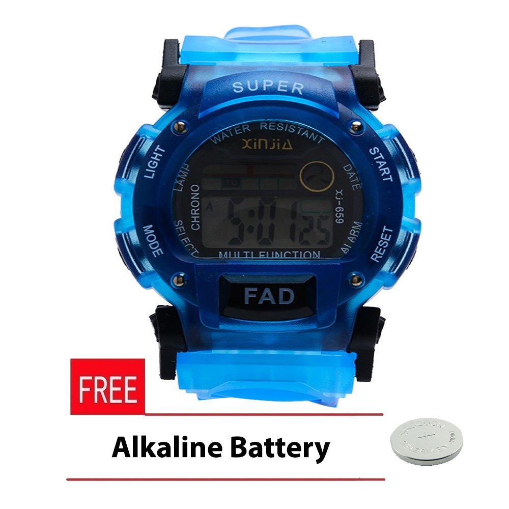 Xinjia Unisex Blue Plastic Strap Watch XJ-659 with FREE Alkaline Battery