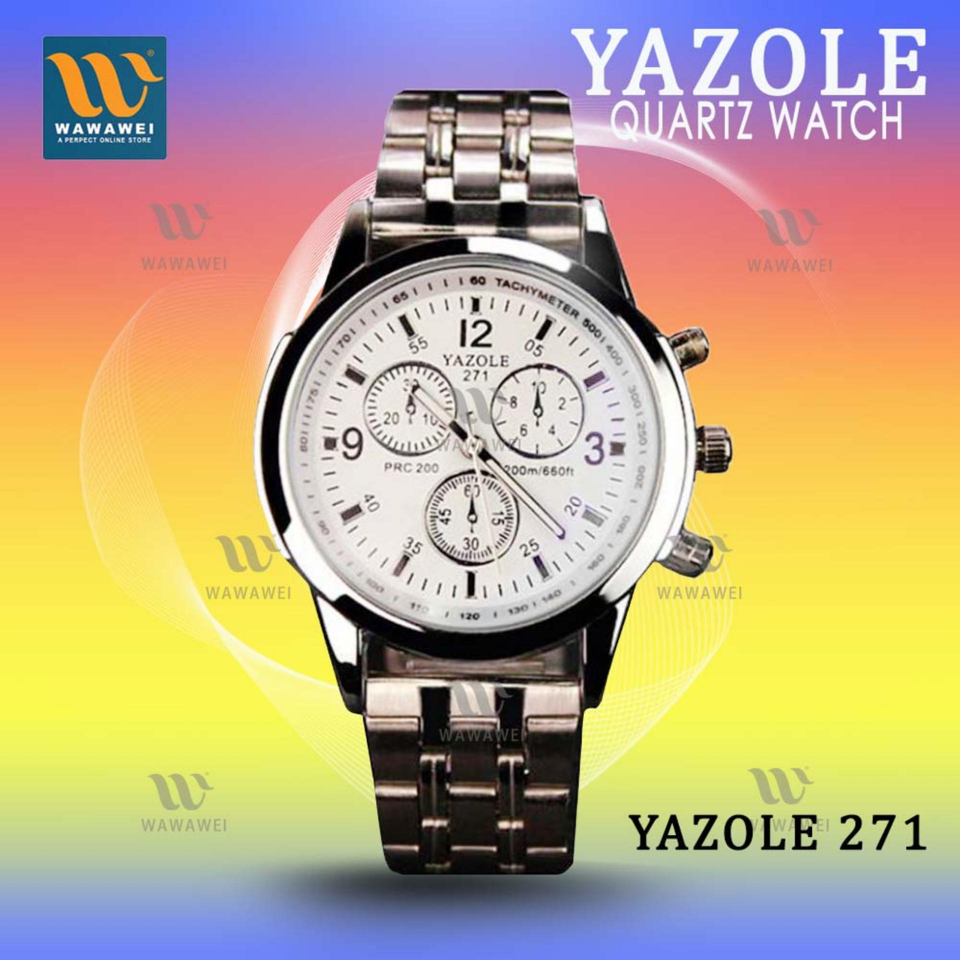 YAZOLE 271-2 Business Men's Stainless Steel Strap Quartz Wrist Watch (White) product preview, discount at cheapest price