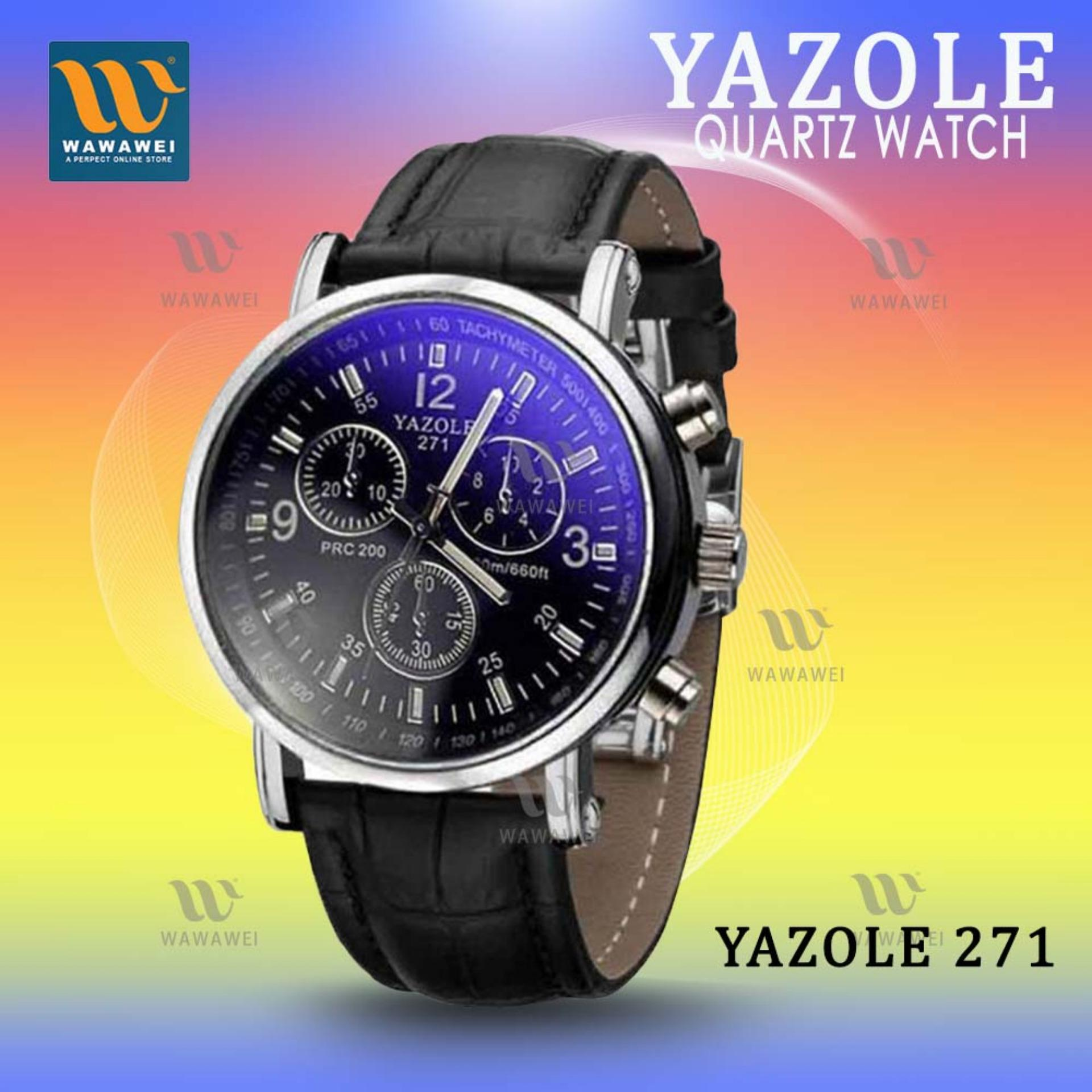 YAZOLE 271 Fashion Business Men PU Leather Band Wristwatch (Black) product preview, discount at cheapest price