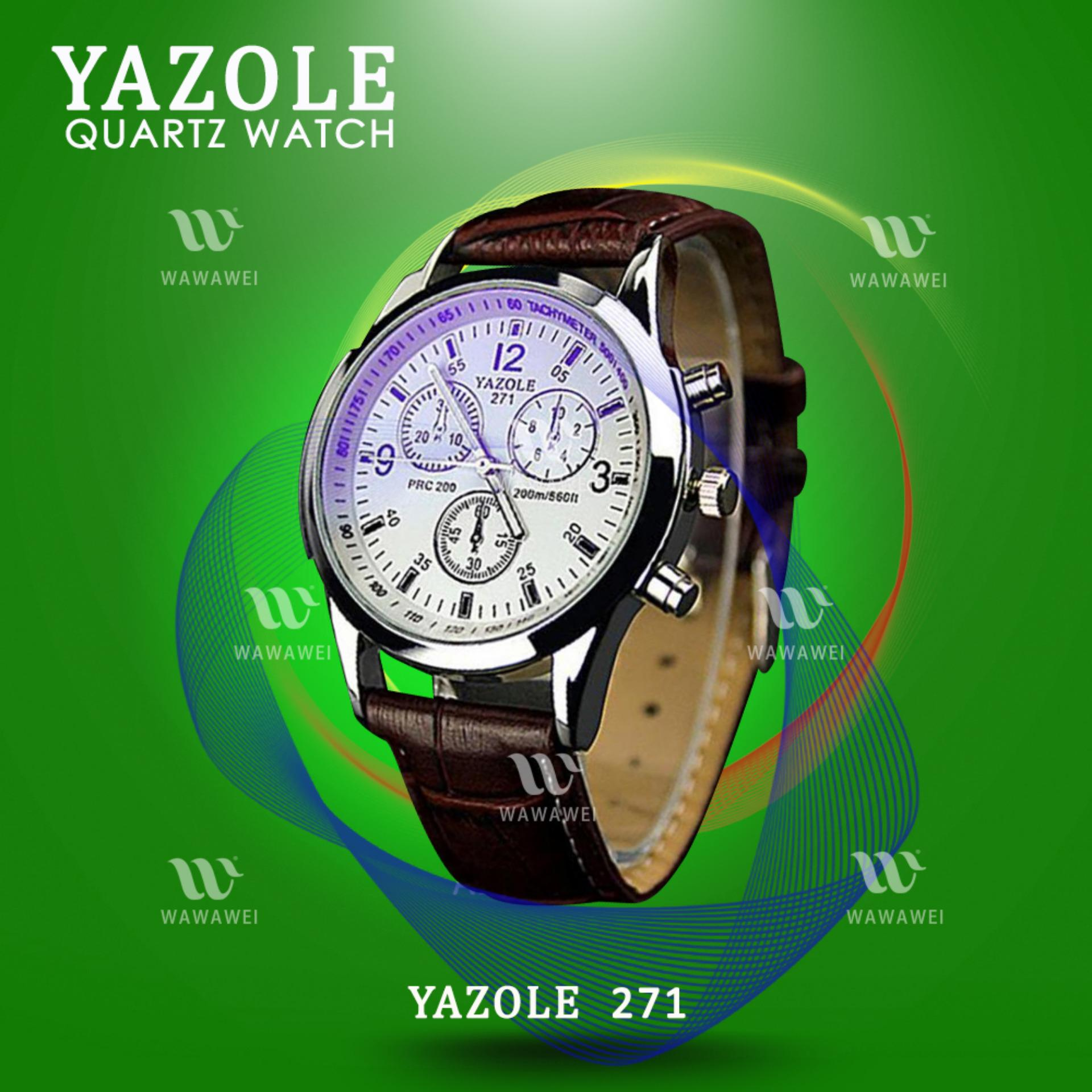 YAZOLE 271 Fashion Business Men PU Leather Band Wristwatch (White/Brown) product preview, discount at cheapest price