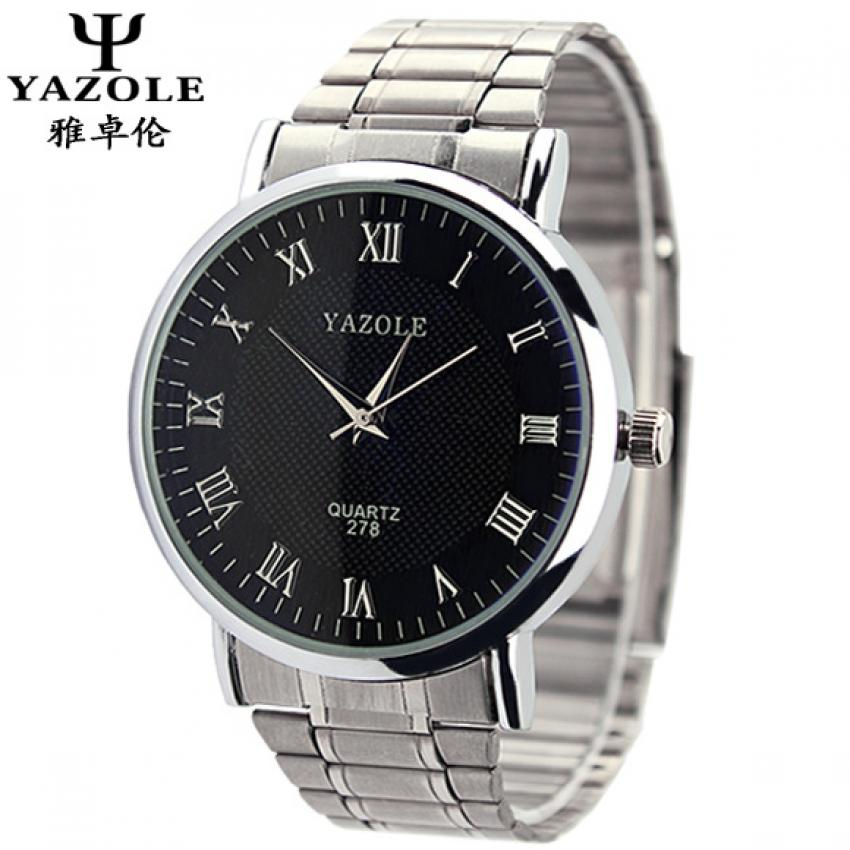 Yazole 278 Men's Stainless Steel Band Quartz Wrist Watch (black) product preview, discount at cheapest price