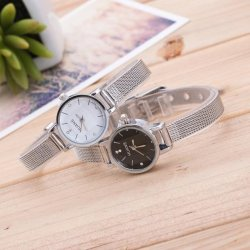 YBC 1 Pair Fashion Couple Stainless Steel Mesh Band Wrist Watch - intl
