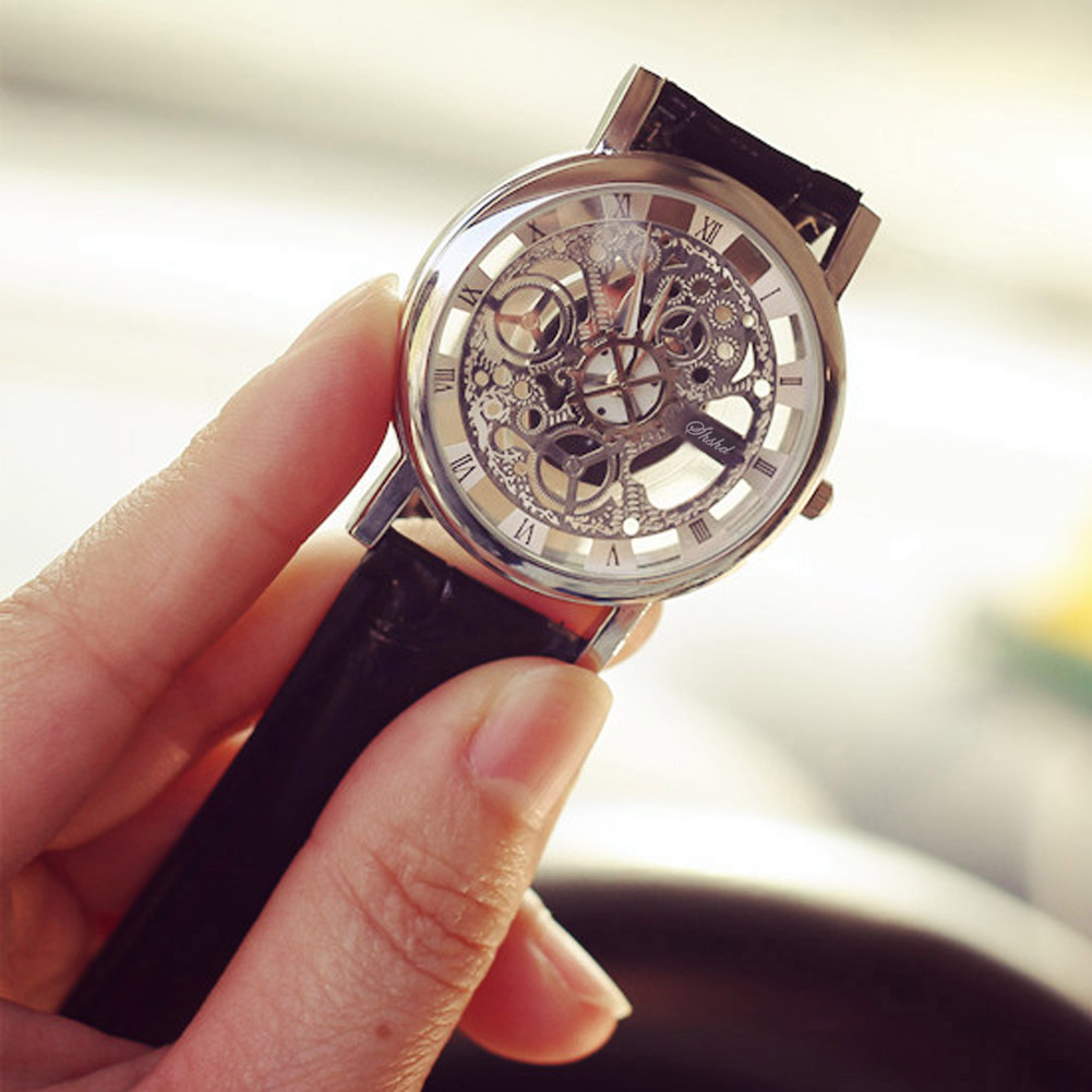 YBC 1 Pair Fashion Non Mechanical Hollow Couple Watch With Imitation Leather Band Strap Black - thumbnail