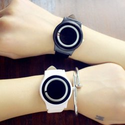 YBC 1 Pair Harajuku Style Couples Watch PU Leather Strap Quartz Watches - intl