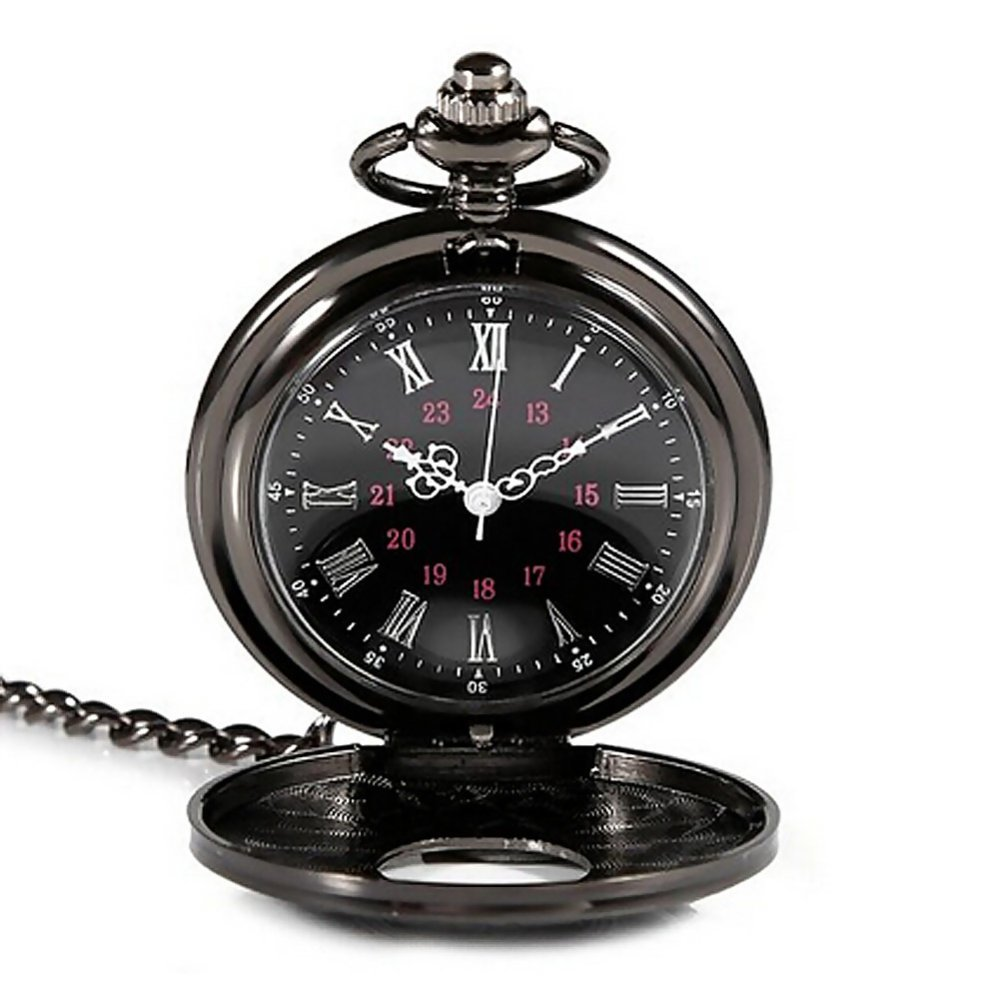 YBC Retro Steam Punk Quartz Pocket Watch With Necklace Black product preview, discount at cheapest price