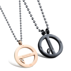 ZUNCLE Couple Pure Steel Personality Titanium Steel Lover Simple Combo with Chain Necklace(Black+Rose Gold)