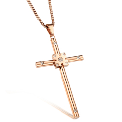 ZUNCLE Titanium steel Cross rose gold necklace women(Gold)