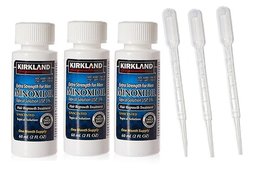 Minoxidil Kirkland With Disposable Pipette - 3 Bottles 3 Pipettes By Minoxiphil.