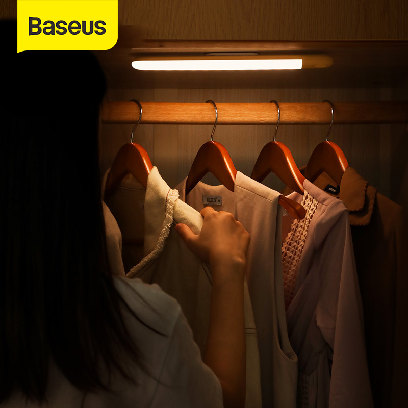 Baseus LED Tủ Quần Áo Ánh Sáng PIR Motion Sensor Ánh Sáng USB Sạc Night Light LED Night Lamp Nam Châm Tường Ánh Sáng Trắng Ấm Cuốn Sách Ánh Sáng 2 Phong Cách Chọn