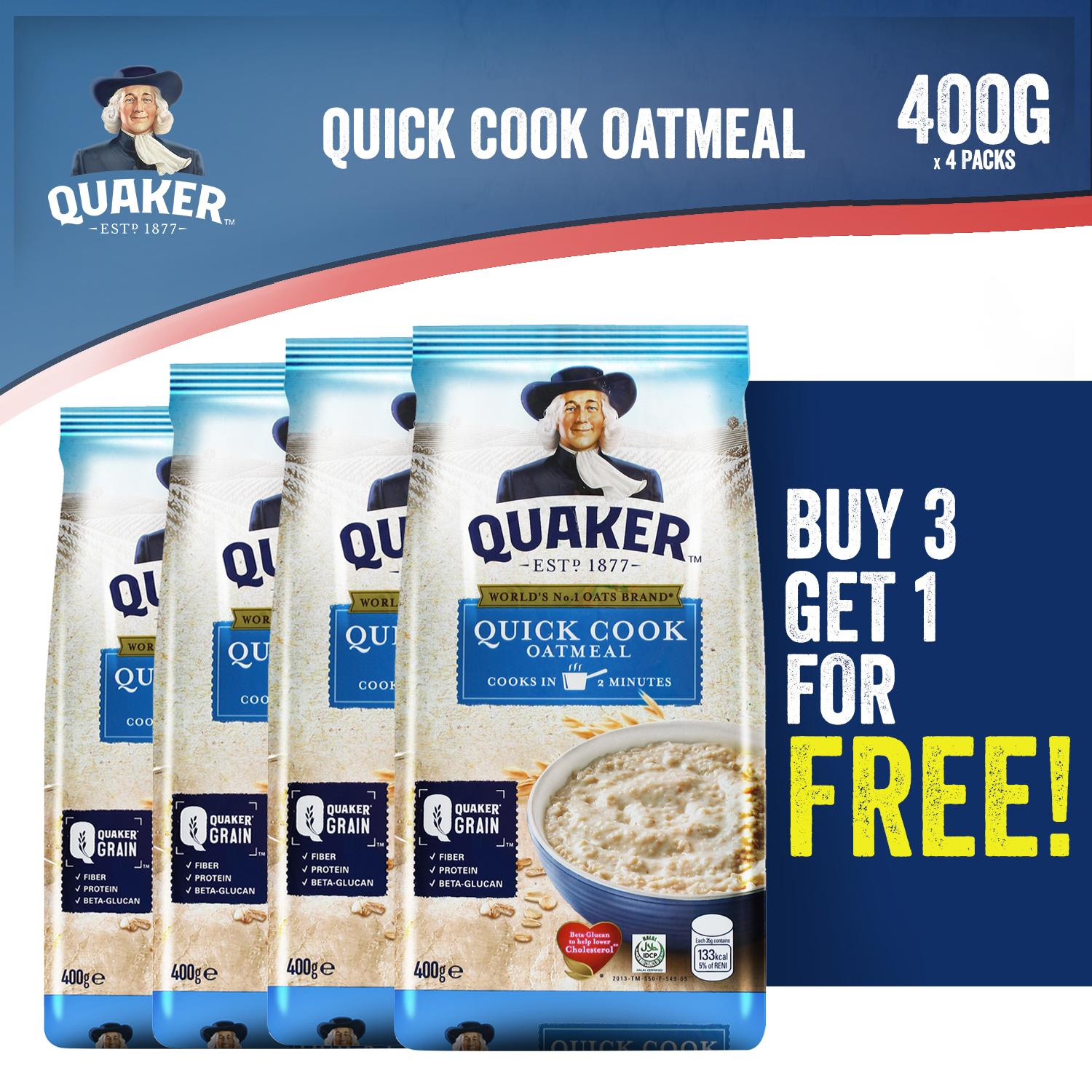 Quaker Instant Oatmeal Quick Cook 400g 3+1 Bundle By Quaker.