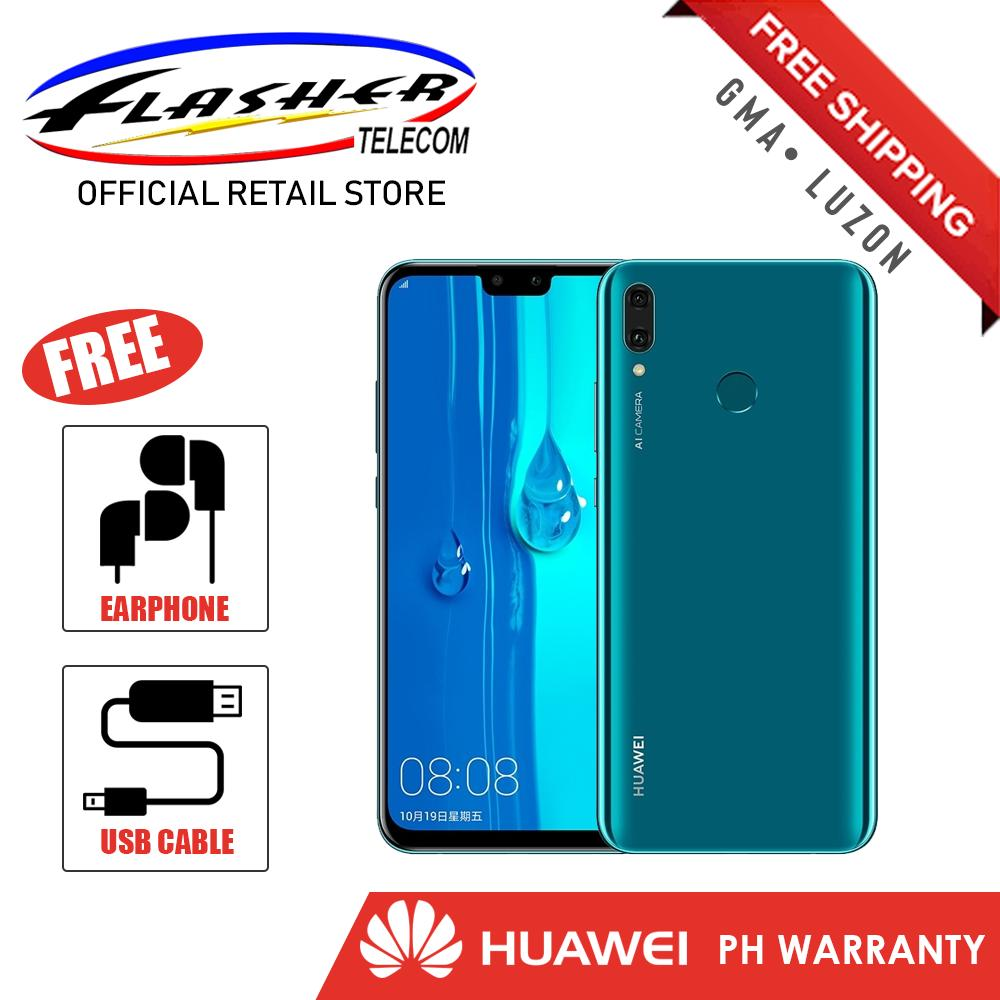 Huawei y9 2019 4GB / 64GB 6 5 (Sapphire Blue) Mobile Phone Dual Sim  Hisilicon Kirin 710 with Free Headset (S601) and Pyxis USB Cable