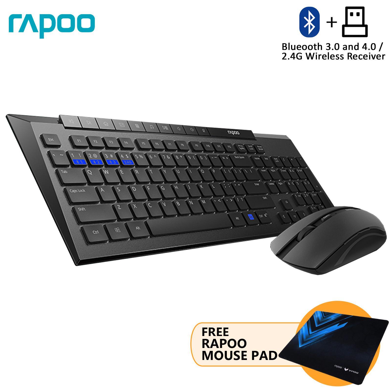938652209ff RAPOO 8200M Bluetooth 3.0 Multi-mode 2.4G Wireless Keyboard & Mouse FREE  Mouse Pad