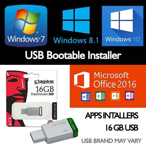 Microsoft Windows 7 8.1 10 Bootable Installer Office 2016 And Apps Installers 16gb Usb 3.1 3.0 2.0 By Hs Digital.