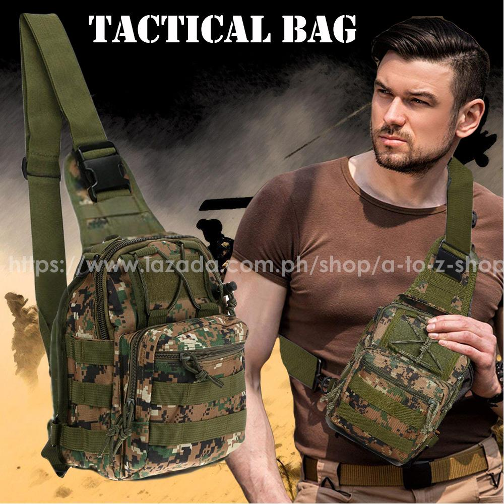 Men's Military Tactical Chest Sling Bag with MOLLE systems (Modular Lightweight Load-carrying Equipment) image on snachetto.com