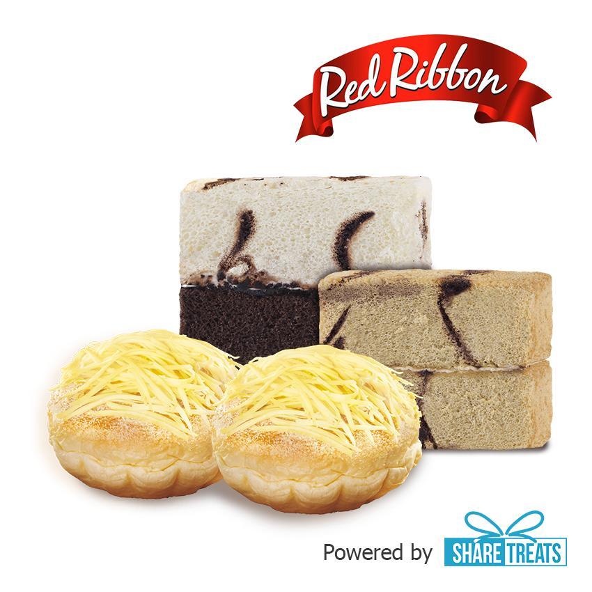 Red Ribbon 2 Cake Slice & 2 Ensaimada (sms Evoucher) By Share Treats.
