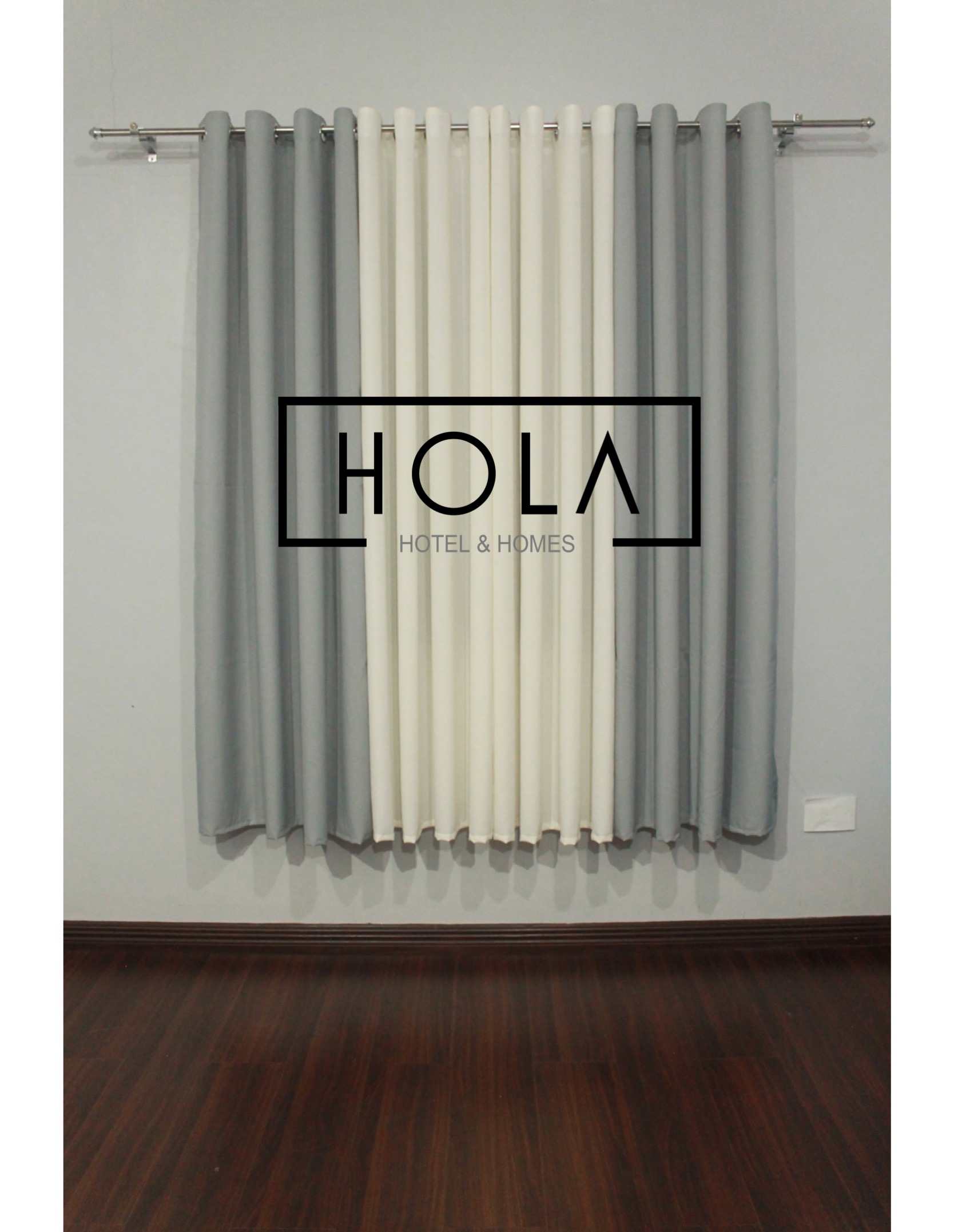 Hola Light Gray Plain Curtains 3in1 Set 4in1 Set Lazada Ph