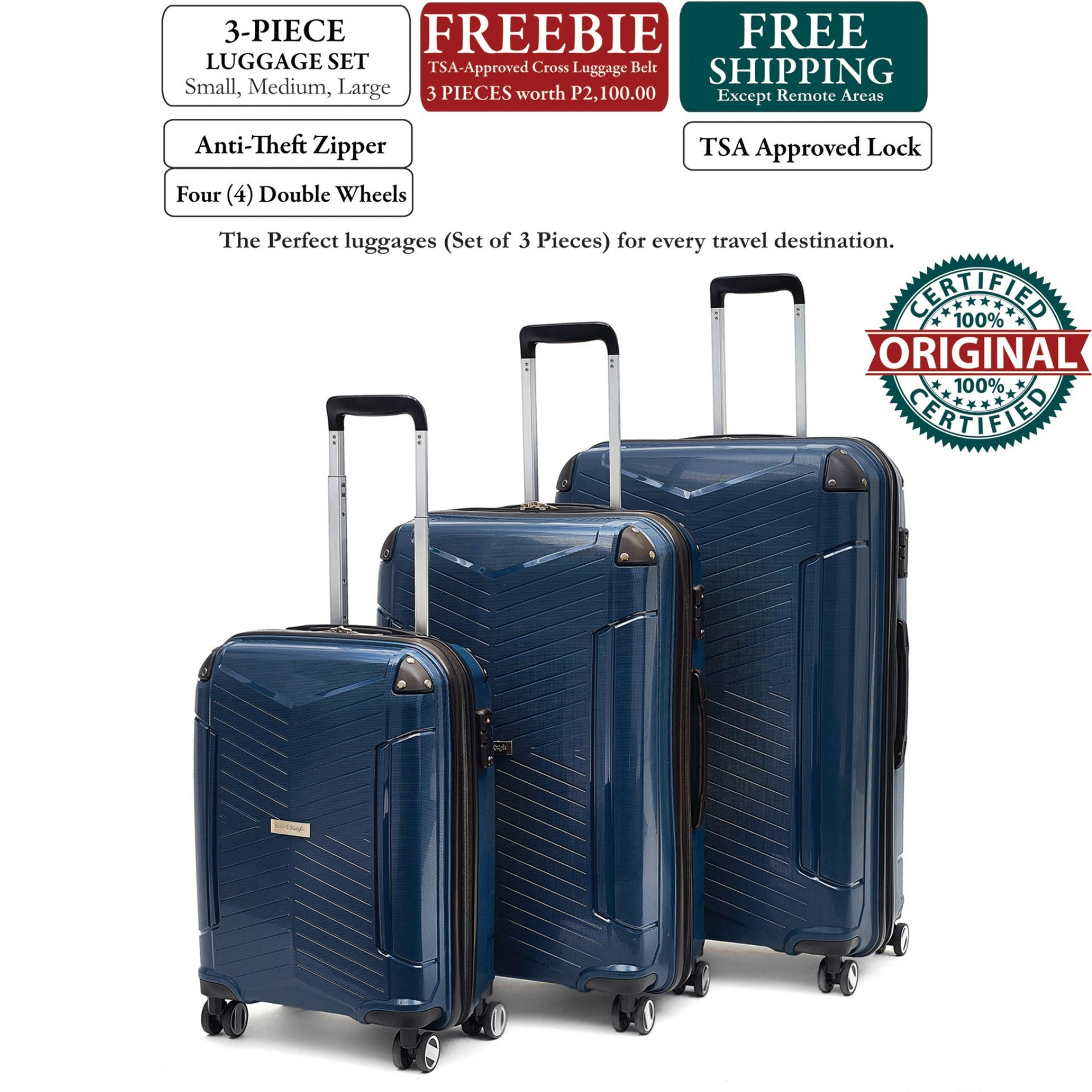 0f397973d053 British Knight BIP953ZT Navy Blue 3-Piece (Set) Luggage with TSA Lock,  Anti-Theft Zipper (3PCS FREE TSA CROSS LUGGAGE BELT)