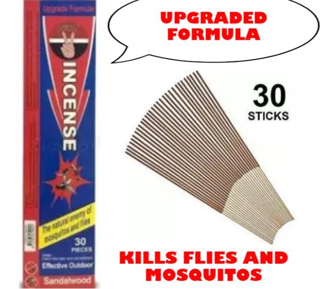 YAH Incense Sandalwood Incense for Flies and Mosquitoes 1 box or 30 STICKS  KILLS FLIES AND MOSQUITOS very good